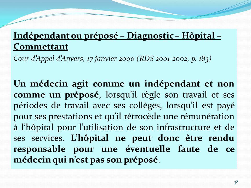 Indépendant ou préposé – Diagnostic – Hôpital – Commettant