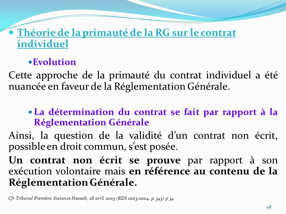Théorie de la primauté de la RG sur le contrat individuel