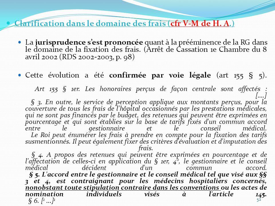Clarification dans le domaine des frais (cfr V-M de H. A.)