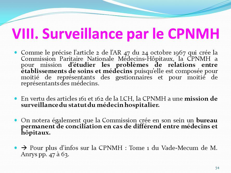 VIII. Surveillance par le CPNMH