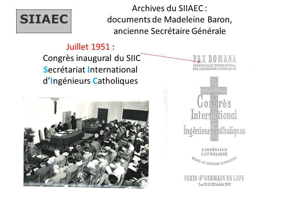 Congrès inaugural du SIIC Secrétariat International