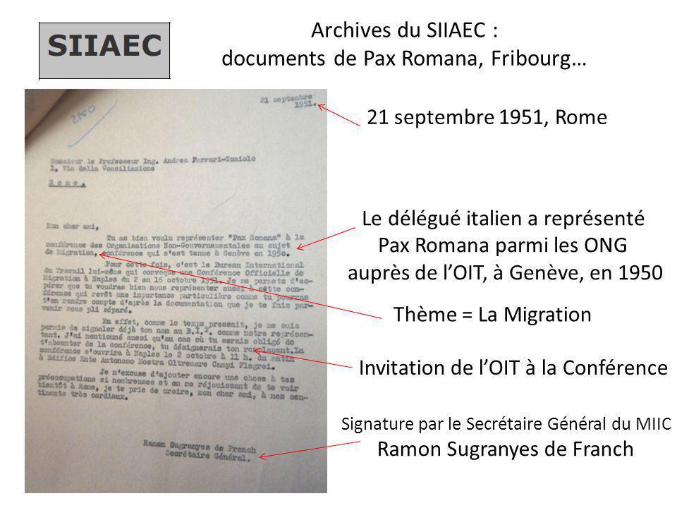 Archives du SIIAEC : documents de Pax Romana, Fribourg…