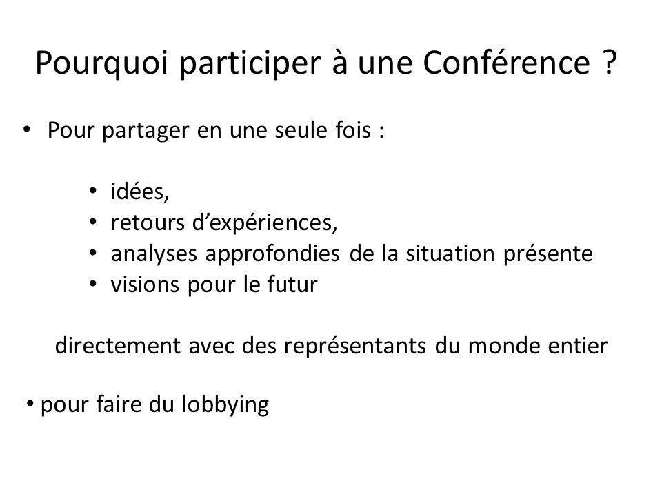 Pourquoi participer à une Conférence