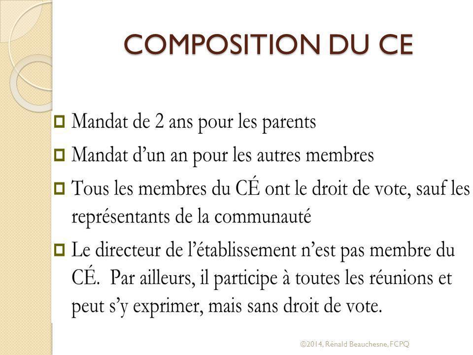 COMPOSITION DU CE ©2014, Rénald Beauchesne, FCPQ