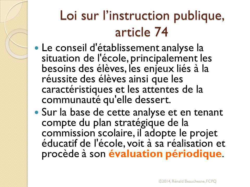Loi sur l'instruction publique, article 74