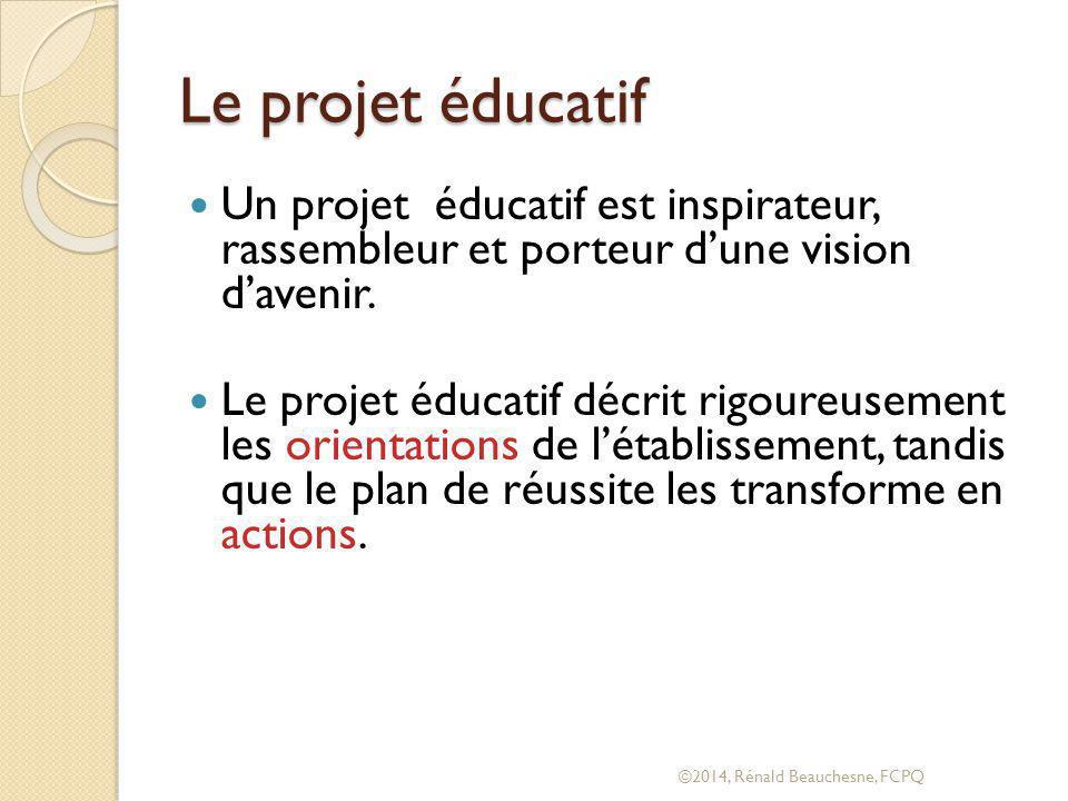 Le projet éducatif Un projet éducatif est inspirateur, rassembleur et porteur d'une vision d'avenir.