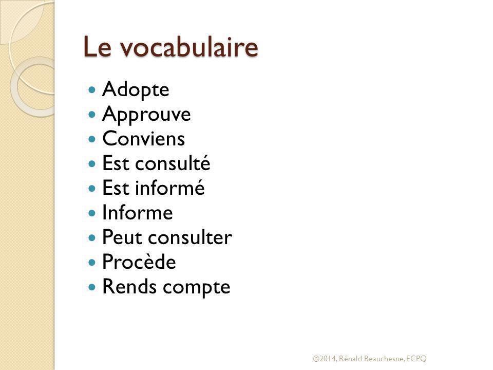 Le vocabulaire Adopte Approuve Conviens Est consulté Est informé