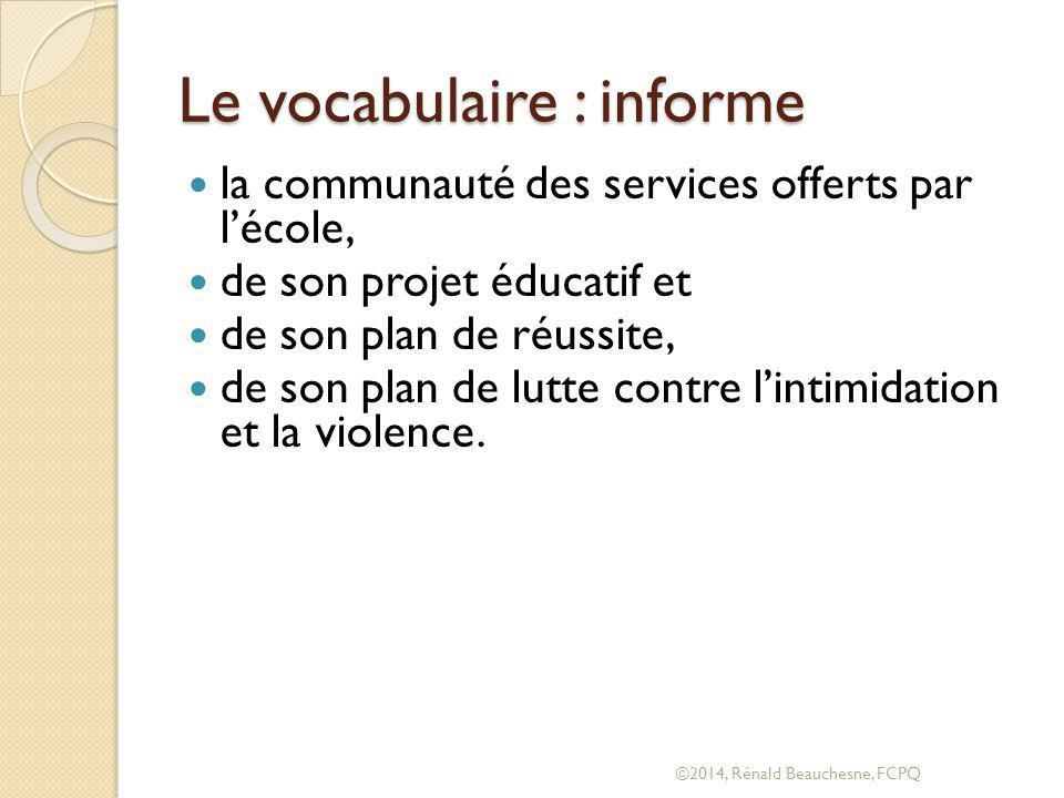 Le vocabulaire : informe