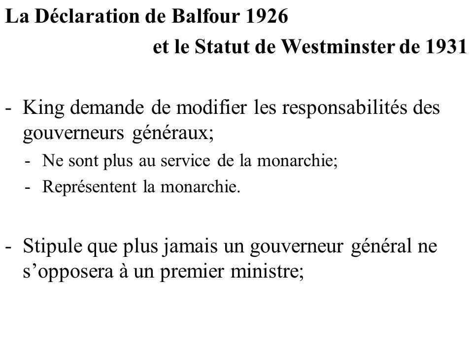 La Déclaration de Balfour 1926 et le Statut de Westminster de 1931