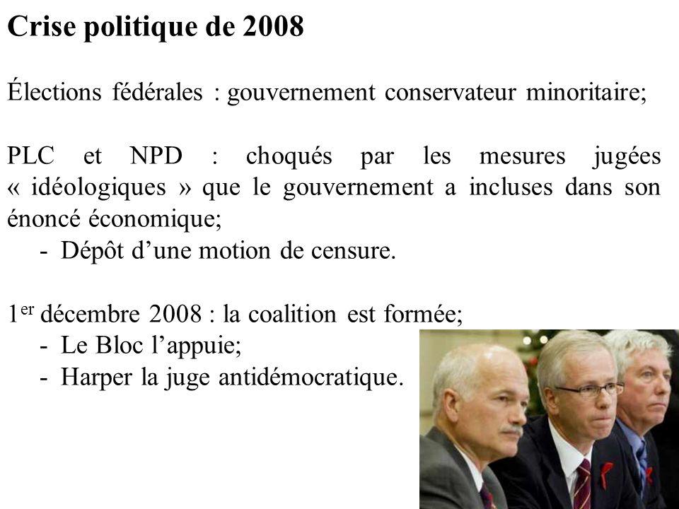 Crise politique de 2008 Élections fédérales : gouvernement conservateur minoritaire;