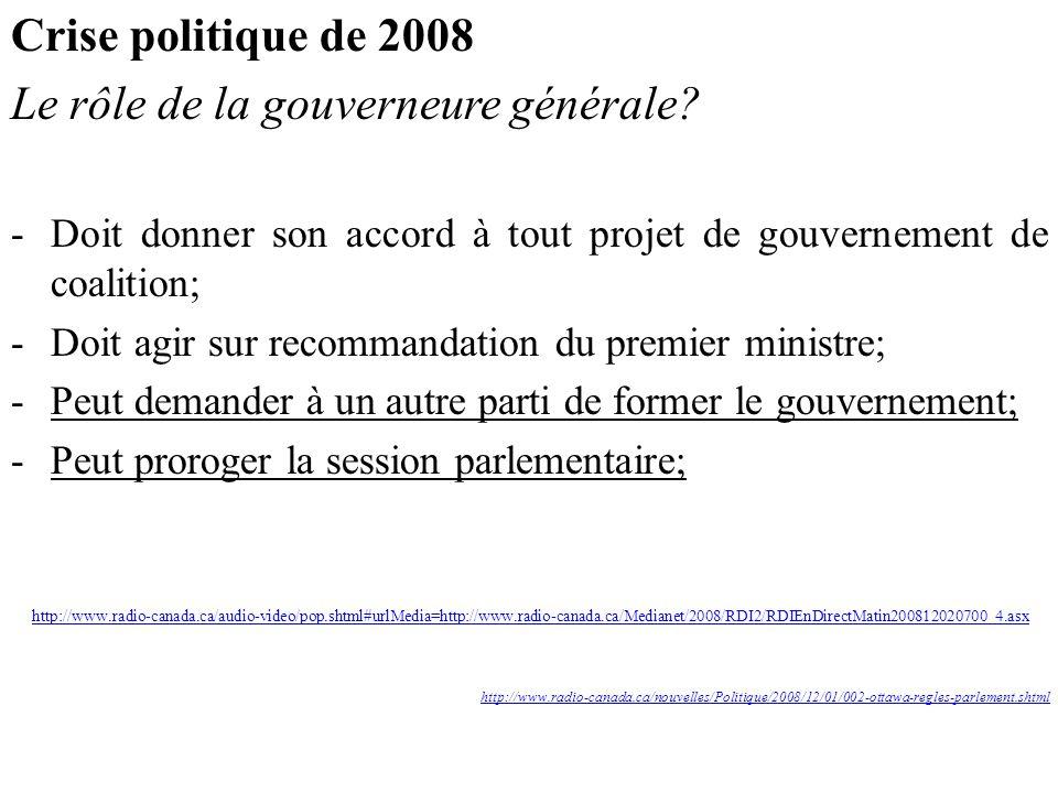 Le rôle de la gouverneure générale
