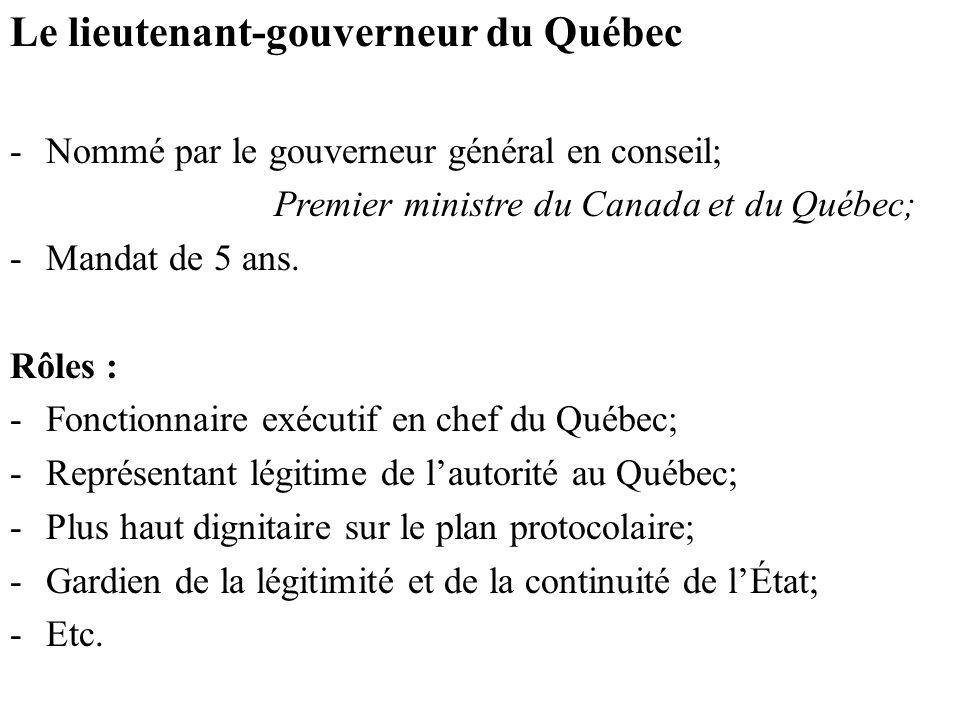 Le lieutenant-gouverneur du Québec