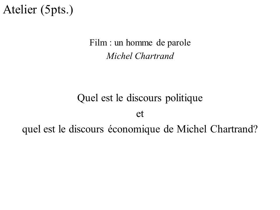 Atelier (5pts.) Quel est le discours politique et