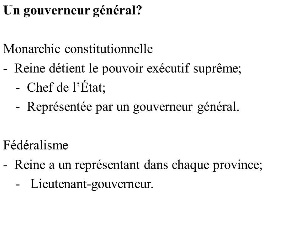 Un gouverneur général Monarchie constitutionnelle. Reine détient le pouvoir exécutif suprême; Chef de l'État;