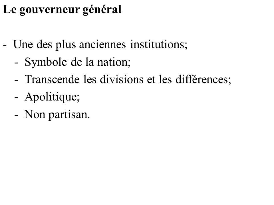 Le gouverneur général Une des plus anciennes institutions; Symbole de la nation; Transcende les divisions et les différences;