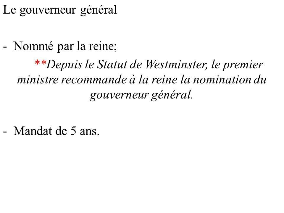 Le gouverneur général Nommé par la reine;