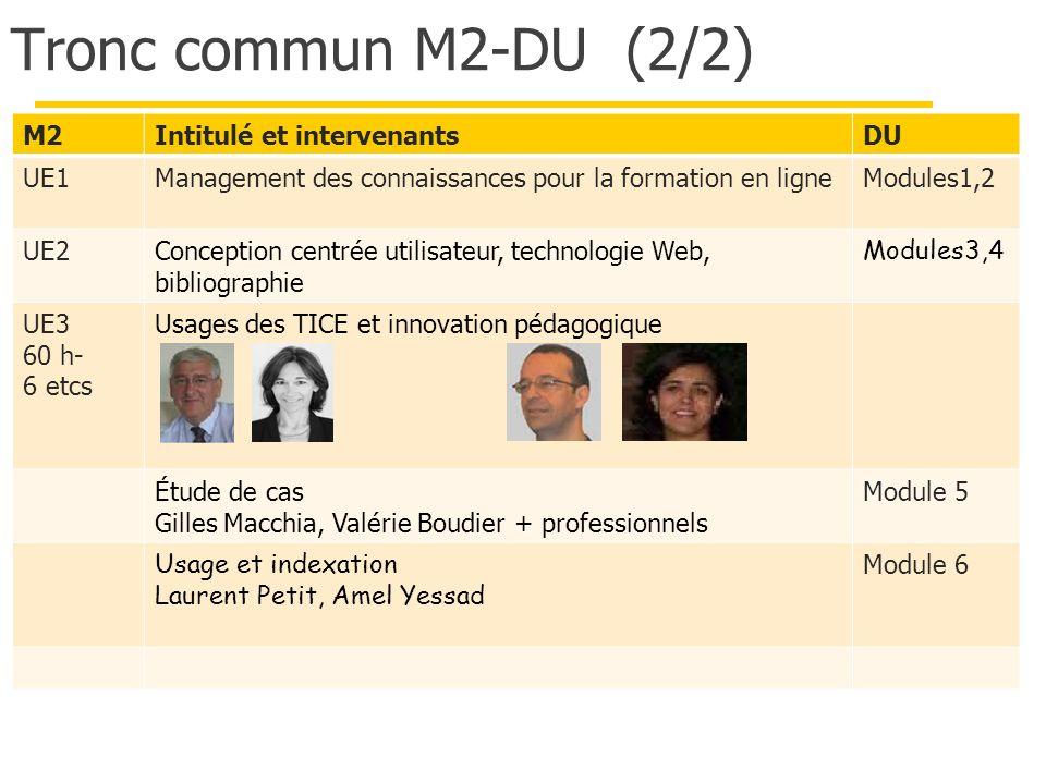 Tronc commun M2-DU (2/2) M2 Intitulé et intervenants DU UE1