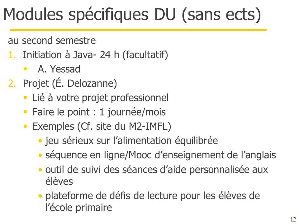 Modules spécifiques DU (sans ects)