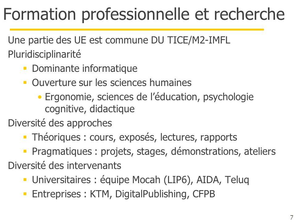 Formation professionnelle et recherche