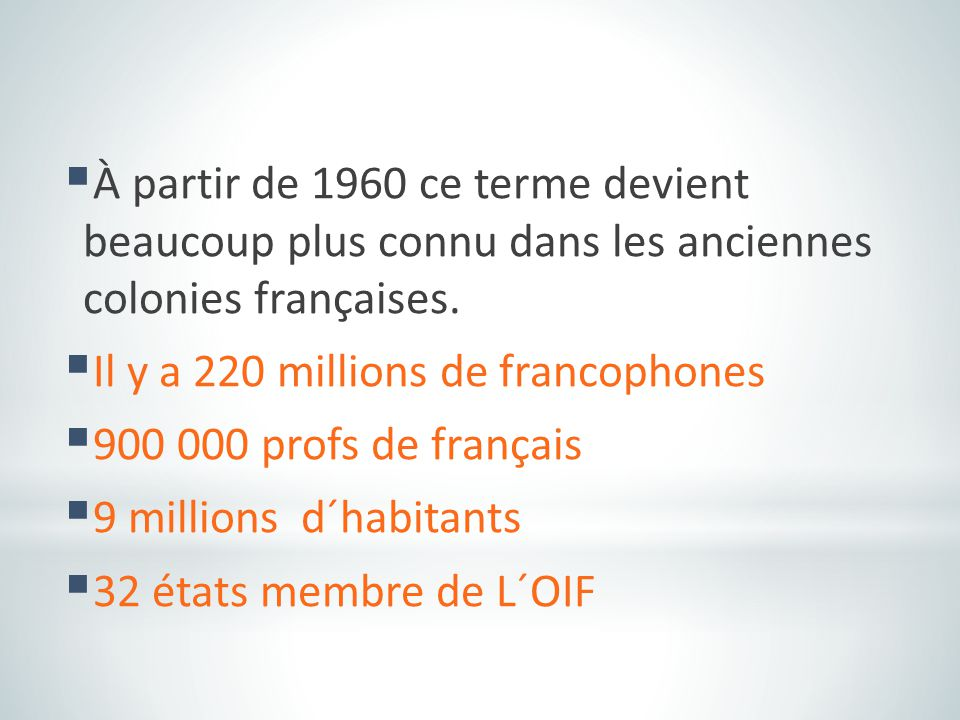 À partir de 1960 ce terme devient beaucoup plus connu dans les anciennes colonies françaises.