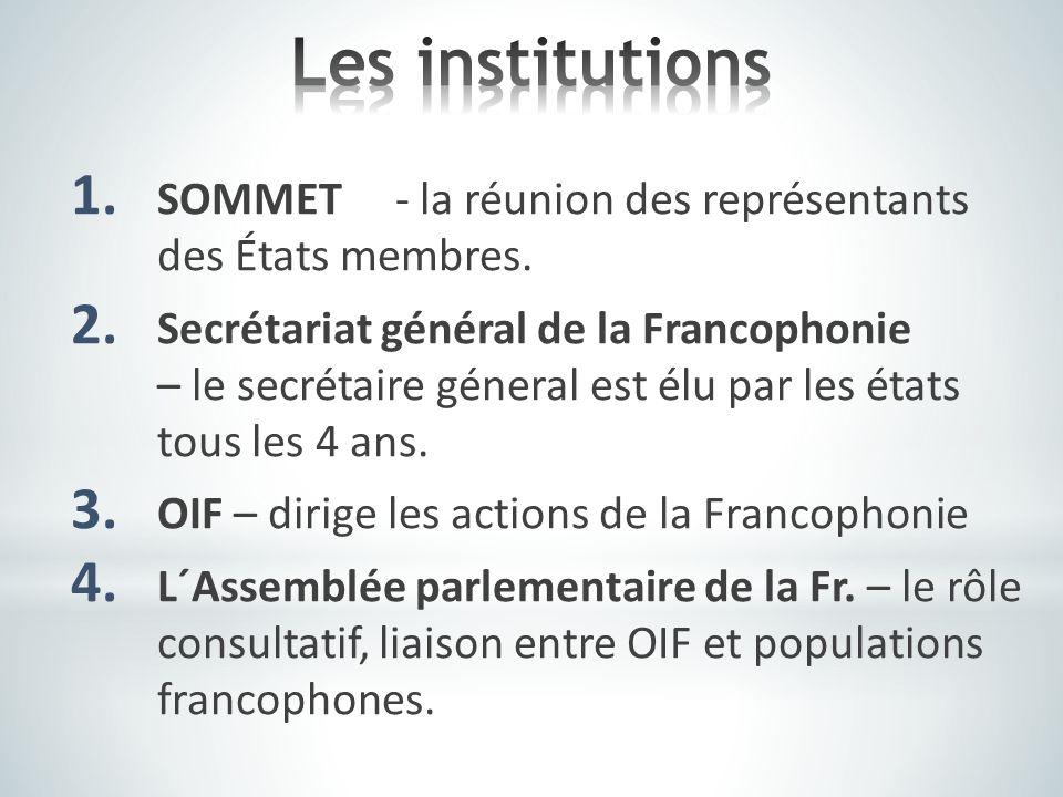 Les institutions SOMMET - la réunion des représentants des États membres.