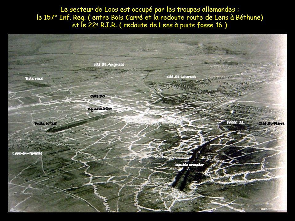 Le secteur de Loos est occupé par les troupes allemandes : le 157e Inf