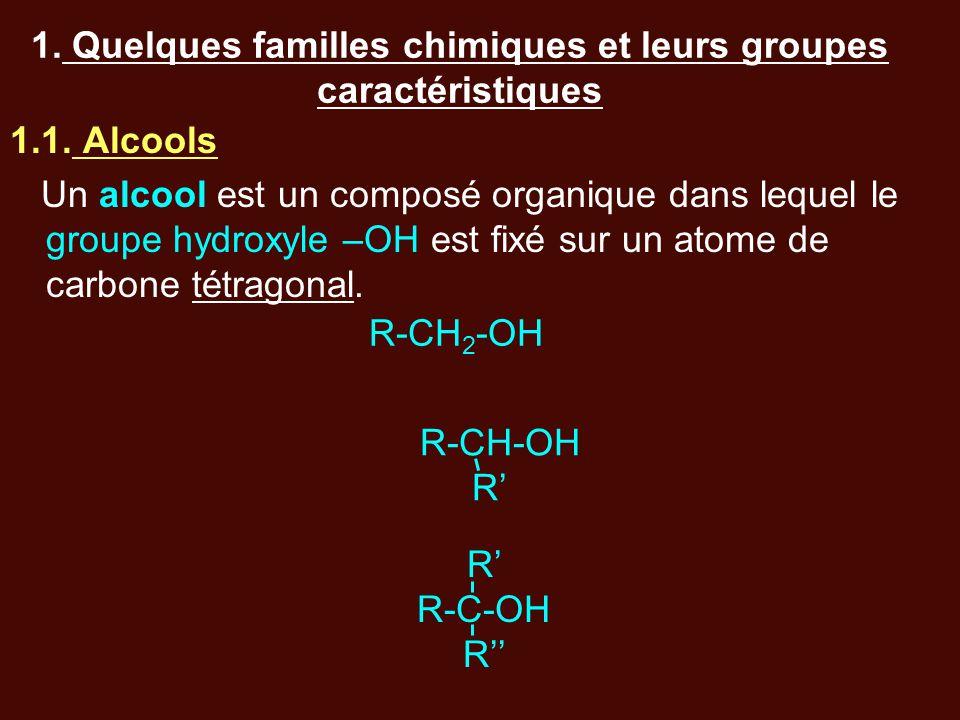 1. Quelques familles chimiques et leurs groupes caractéristiques