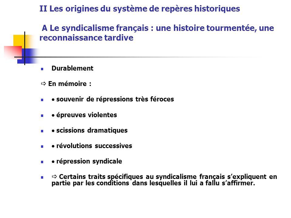 II Les origines du système de repères historiques A Le syndicalisme français : une histoire tourmentée, une reconnaissance tardive