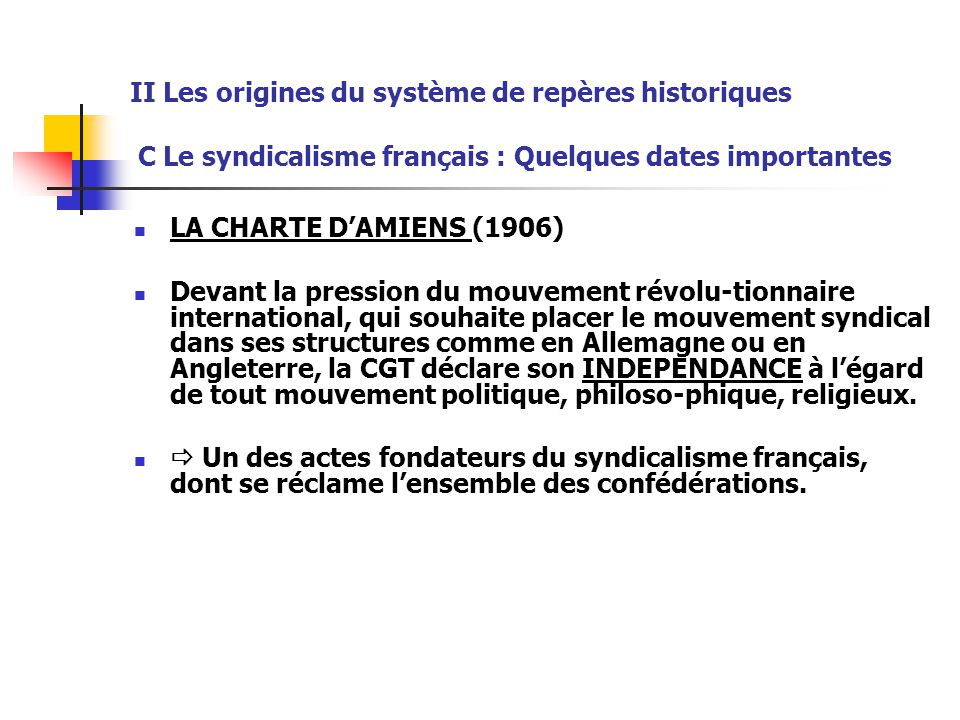 II Les origines du système de repères historiques C Le syndicalisme français : Quelques dates importantes