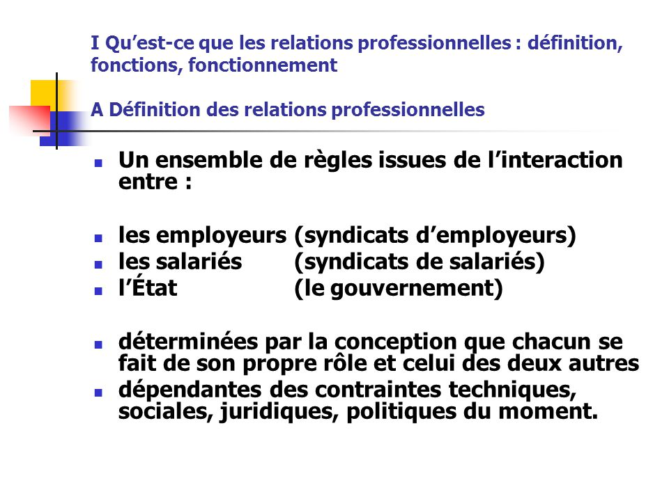 Un ensemble de règles issues de l'interaction entre :