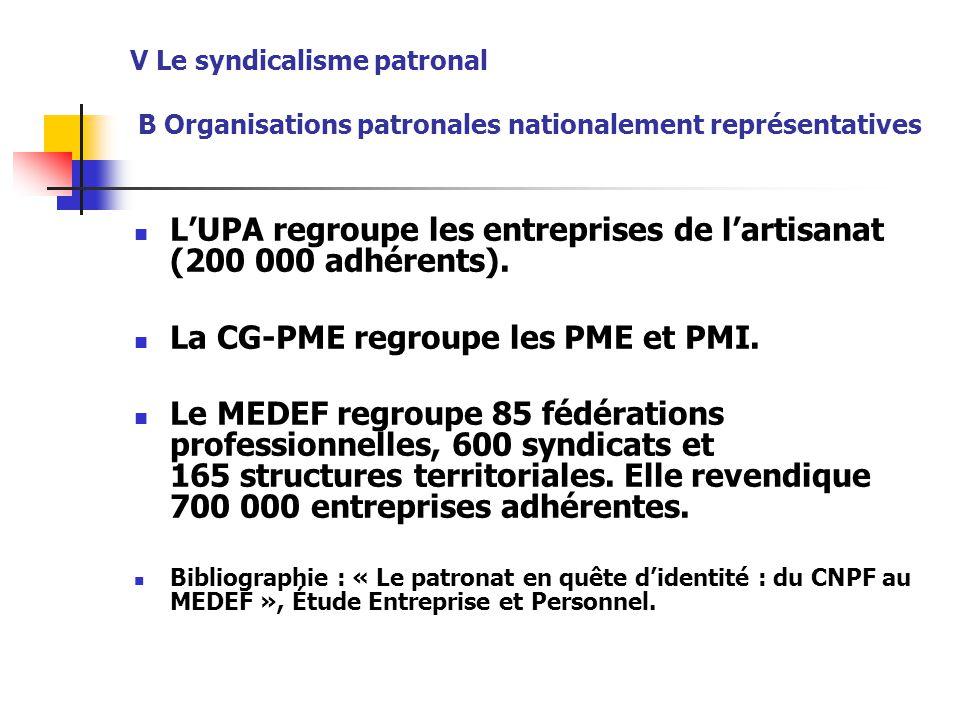 L'UPA regroupe les entreprises de l'artisanat (200 000 adhérents).