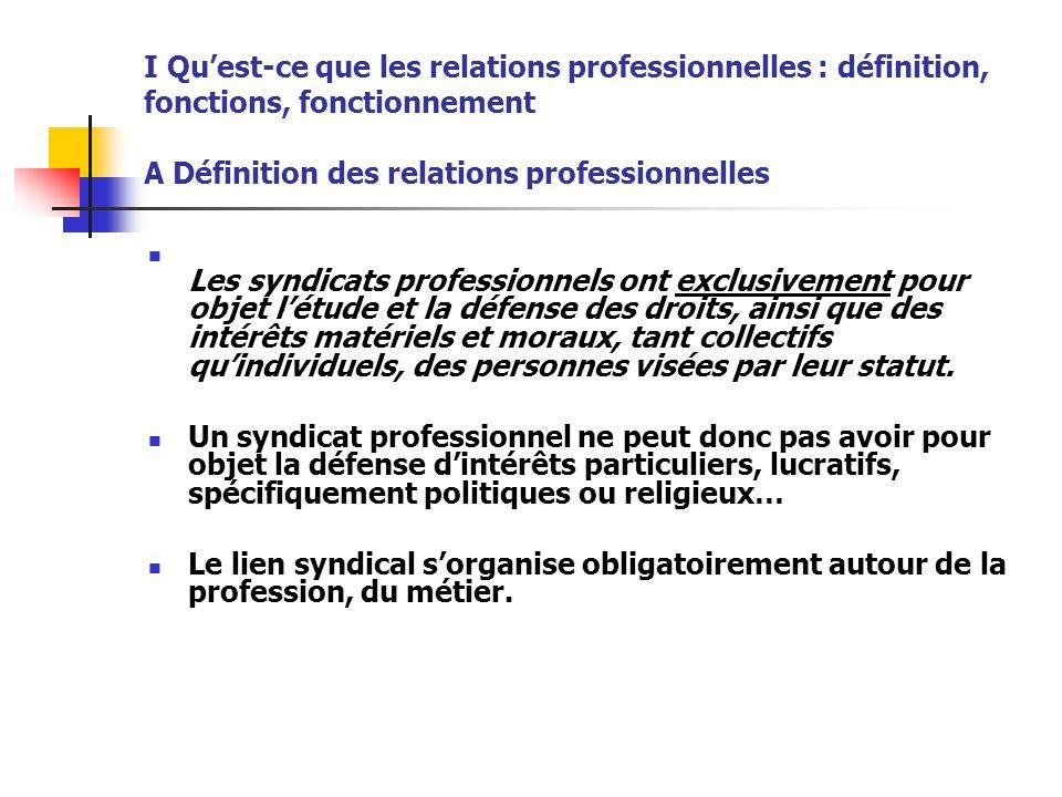 I Qu'est-ce que les relations professionnelles : définition, fonctions, fonctionnement A Définition des relations professionnelles