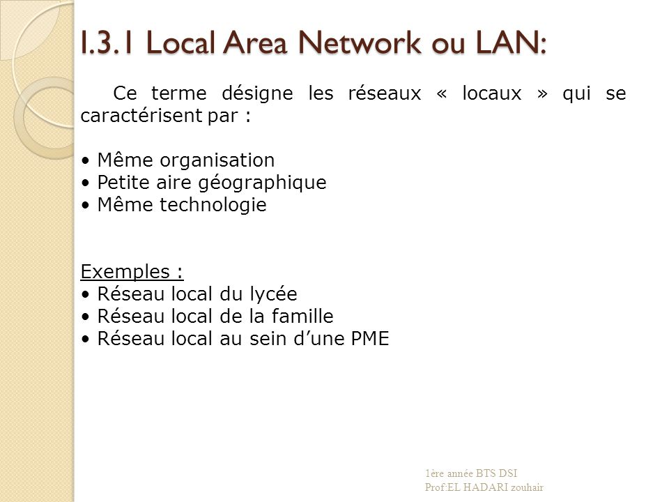 I.3.1 Local Area Network ou LAN: