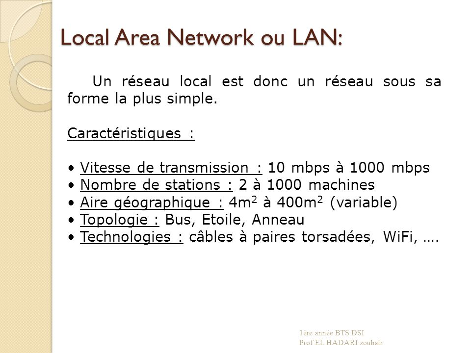 Local Area Network ou LAN: