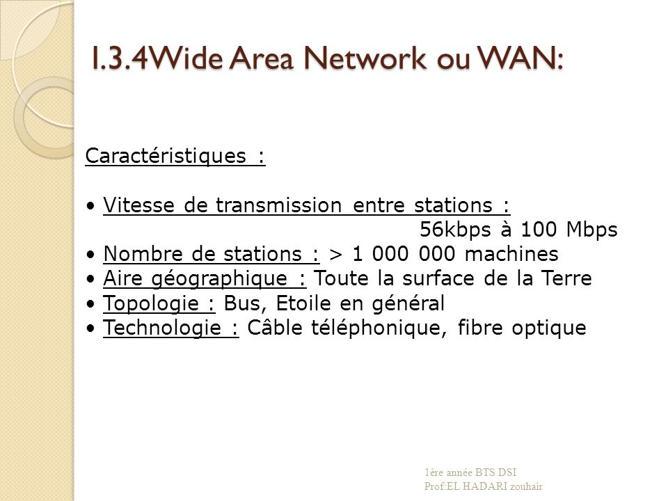 I.3.4Wide Area Network ou WAN: