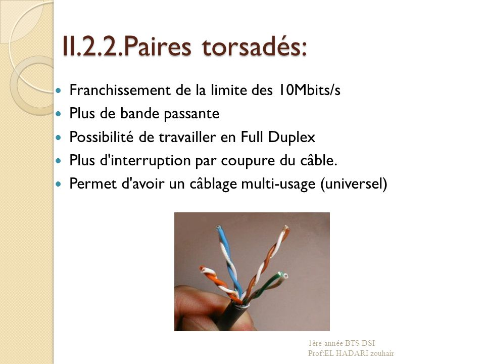 II.2.2.Paires torsadés: Franchissement de la limite des 10Mbits/s