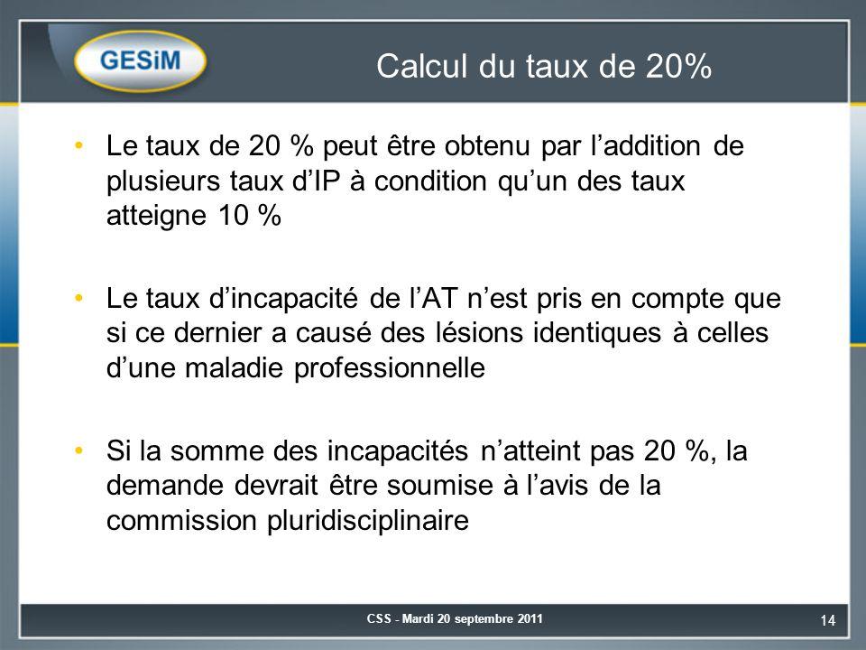 Calcul du taux de 20% Le taux de 20 % peut être obtenu par l'addition de plusieurs taux d'IP à condition qu'un des taux atteigne 10 %