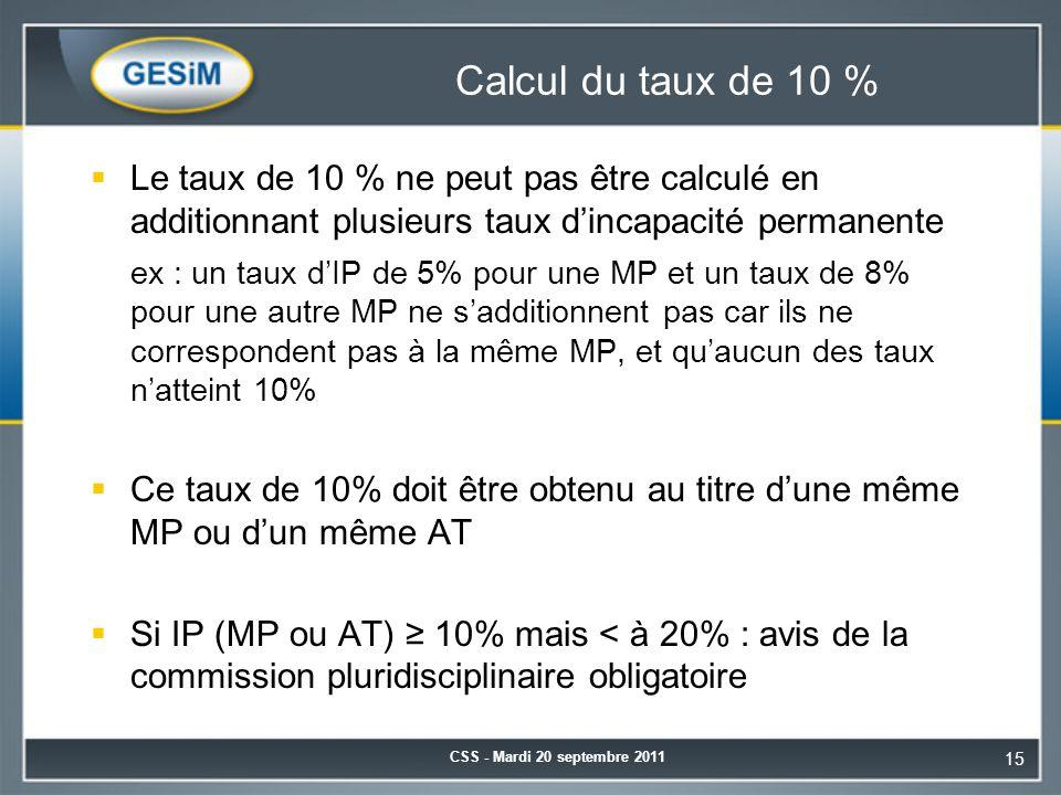 Calcul du taux de 10 % Le taux de 10 % ne peut pas être calculé en additionnant plusieurs taux d'incapacité permanente.