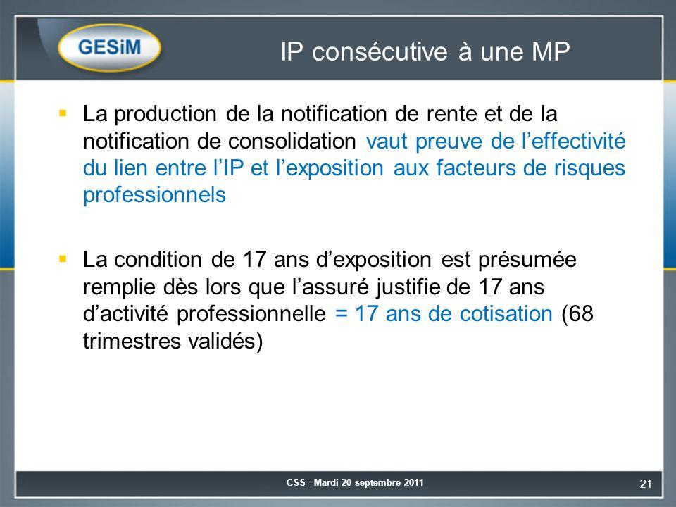 IP consécutive à une MP