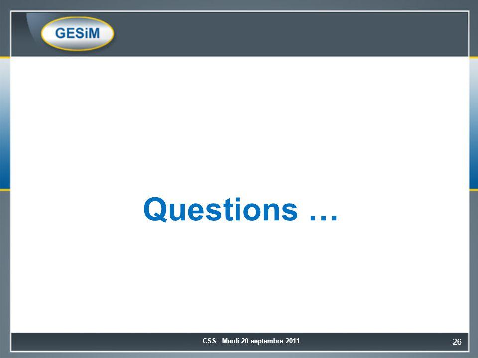 Questions … CSS - Mardi 20 septembre 2011