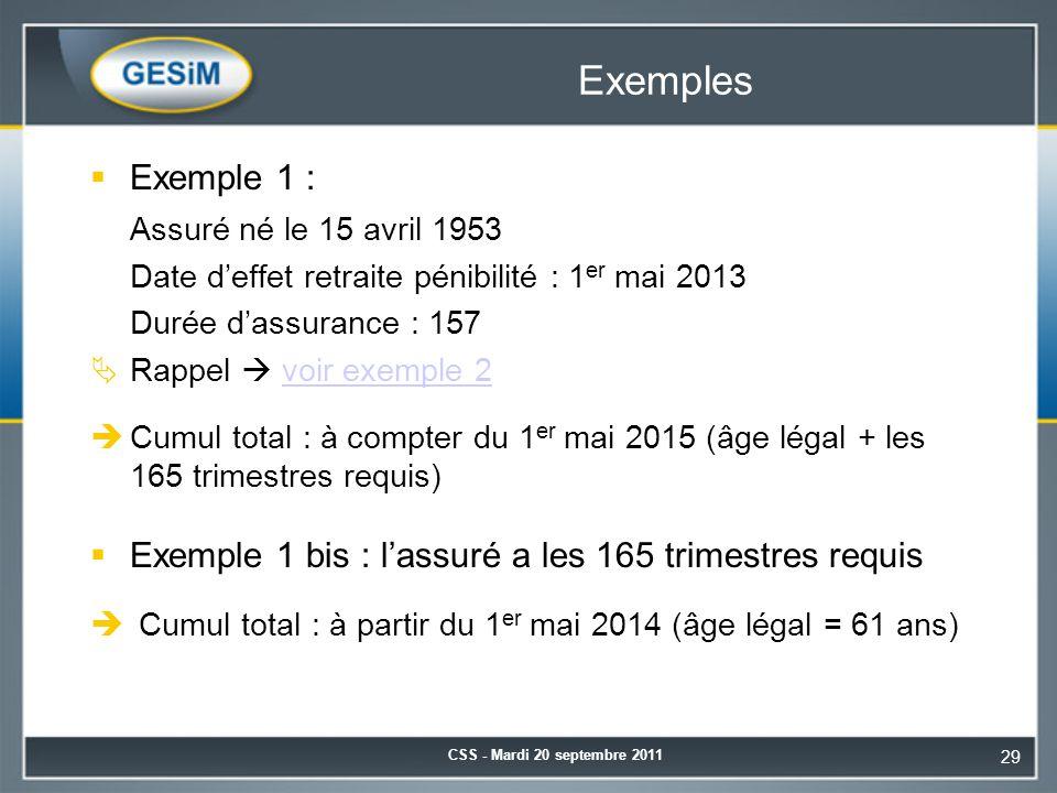 Exemples Exemple 1 : Assuré né le 15 avril 1953