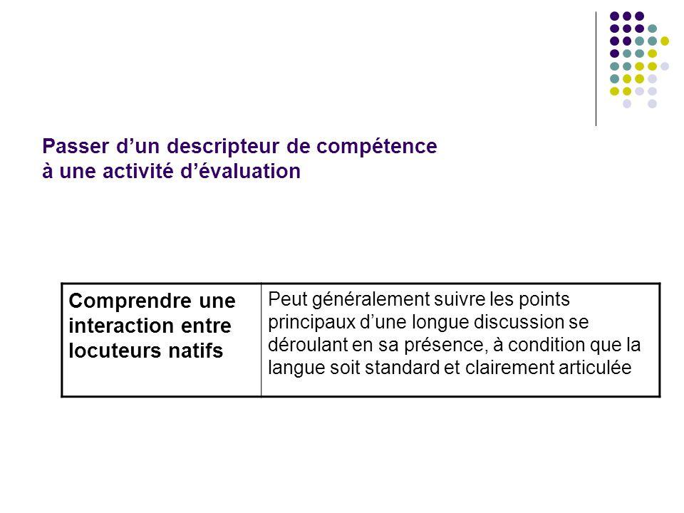 Passer d'un descripteur de compétence à une activité d'évaluation
