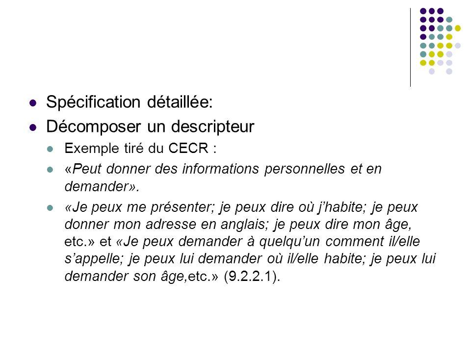 Spécification détaillée: Décomposer un descripteur
