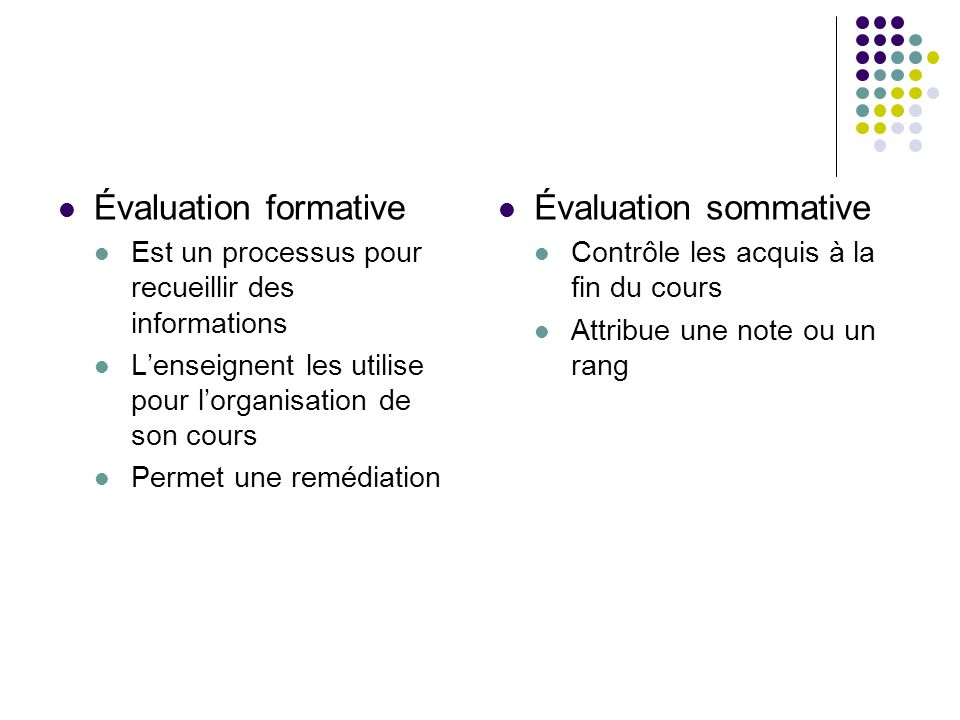 Évaluation formative Évaluation sommative