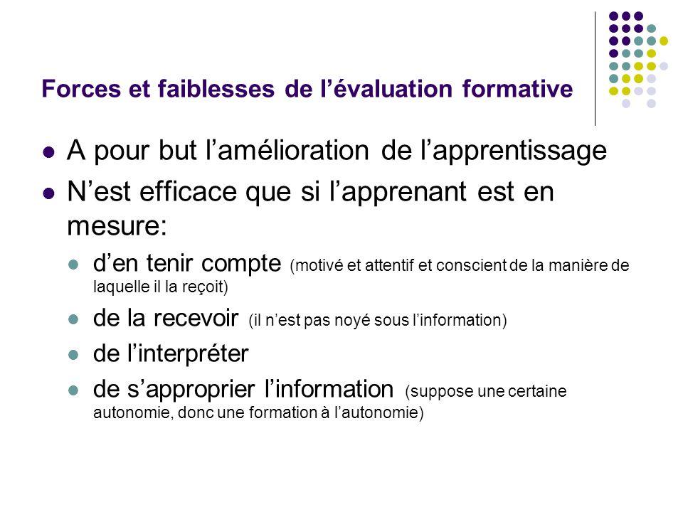 Forces et faiblesses de l'évaluation formative