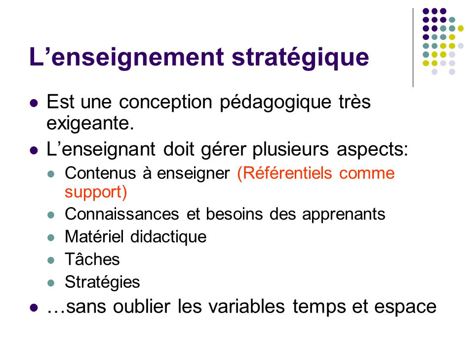 L'enseignement stratégique