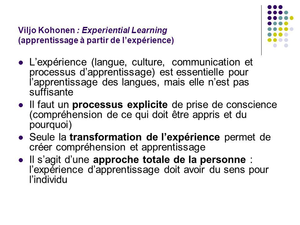 Viljo Kohonen : Experiential Learning (apprentissage à partir de l'expérience)