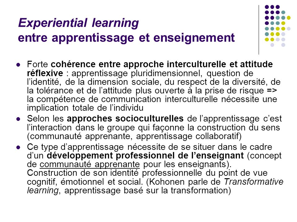 Experiential learning entre apprentissage et enseignement