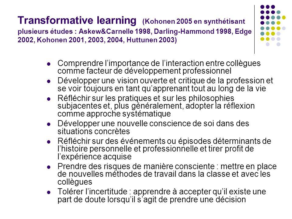 Transformative learning (Kohonen 2005 en synthétisant plusieurs études : Askew&Carnelle 1998, Darling-Hammond 1998, Edge 2002, Kohonen 2001, 2003, 2004, Huttunen 2003)