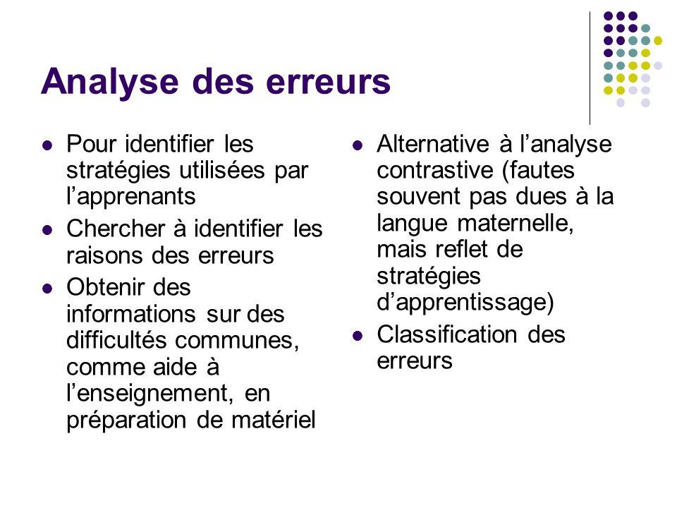 Analyse des erreurs Pour identifier les stratégies utilisées par l'apprenants. Chercher à identifier les raisons des erreurs.